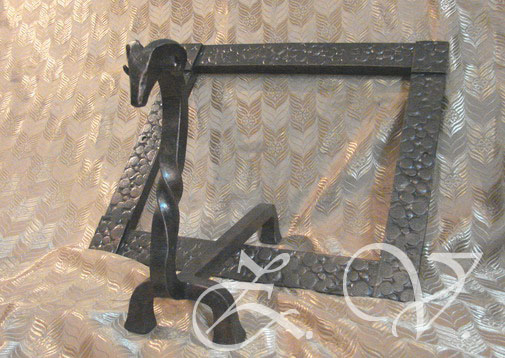 Fireplace frame  and andiron.