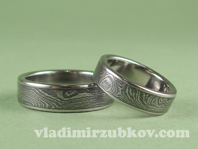 Damascus steel rings.