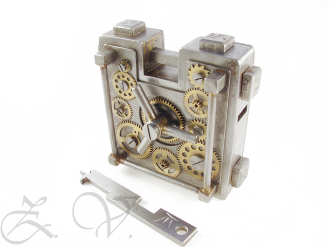 Padlock. In the style of Steampunk.Front view.