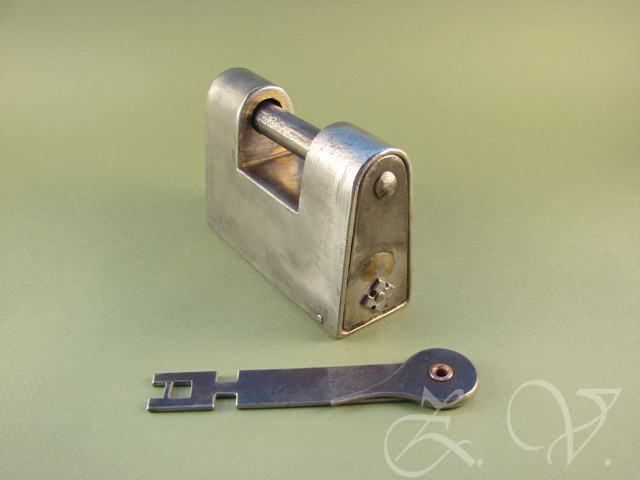Antique padlock with two trick.Replica.Rear view.