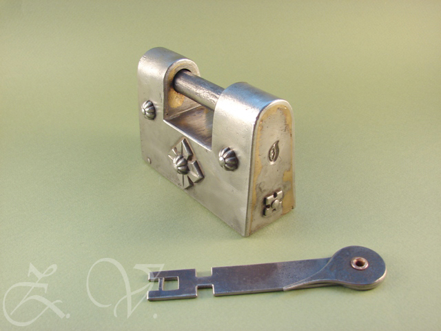 View of locked padlock.